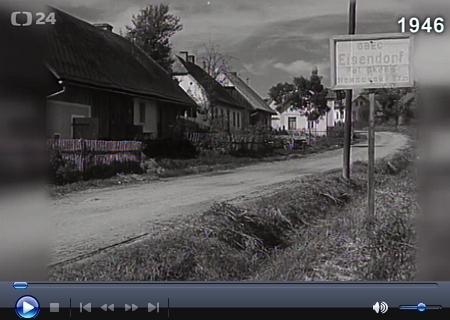 Filmová reportáž o Eisendorfu i s původní orientační tabulí byla natočena v roce 1946 po vyhnání Němců