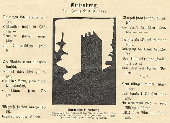 """Báseň otištěná v časopise Waldheimat a Rýzmberk na linorytu žáka Roberta Staubera, použitém i jako ilustrace Dimterovy knihy """"Das Böhmische-bairische Landestor - Eine Heimatfibel für die Deutschen des Tauser Bezirkes"""" (viz i Hugo Rokyta)"""