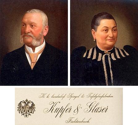 Portrét Eduarda Kupfera a jeho manželky Franzisky, spolumajitelů asi nejvýznamnější sklářské firmy českobavorského příhraničí ve Frauenthalu, Sorghofu a Fichtenbachu, jehož jméno lze číst i v záhlaví obchodního dopisu