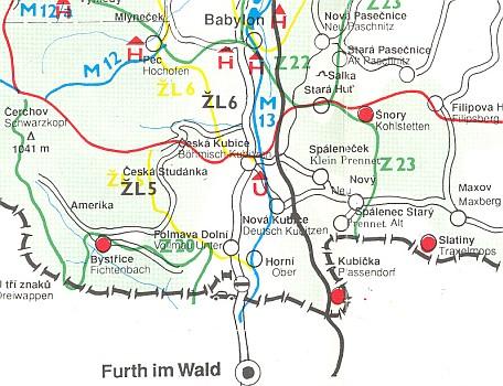 Výsek mapy s jeho rodnou a zaniklou Kubičkou