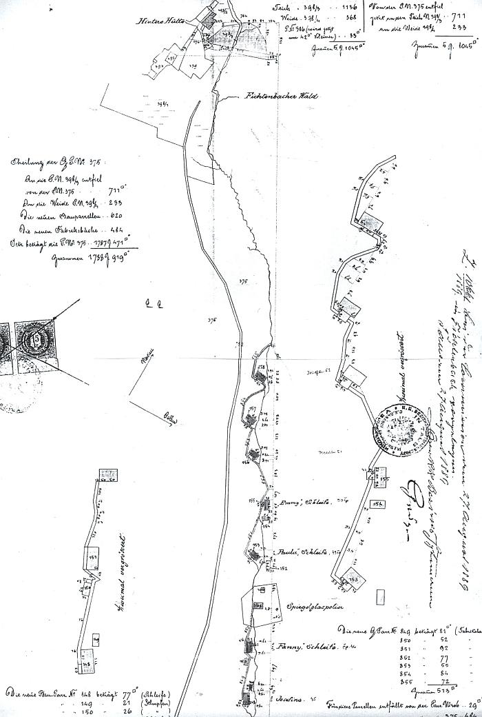 """Kaskáda sedmi """"šlejfů"""" na horním toku Chladné Bystřice, vystavěné tu firmou Kupfer a Glaser v osmdesátých letech 19.století"""