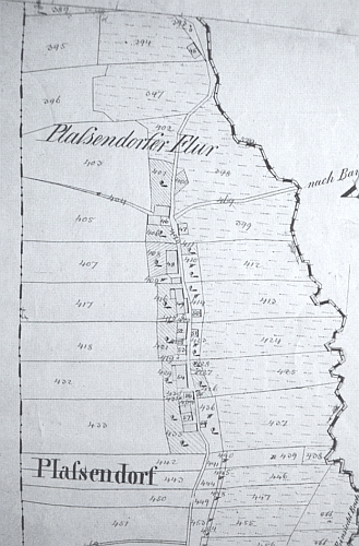 Rodná Kubička na mapě stabilního katastru z roku 1838