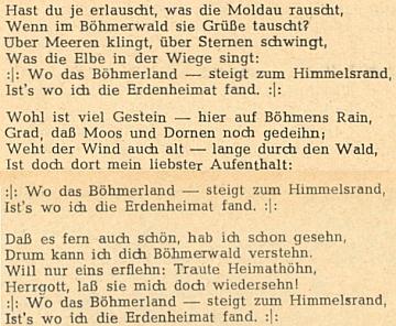 """Jeho """"nová šumavská hymna"""", otištěná 11. ledna roku 1935 vtachovském německém listě """"Westböhmischer Grenzbote"""" azpívaná na nápěv """"Hoch vom Dachstein an"""""""