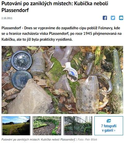 Článek v Domažlickém deníku z října 2011 o zaniklé Kubičce (klikněte na náhled)