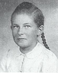 Její podobenka z dívčích let (v knize spoznámkou, že vznikla ve Vimperku, když tam z Bučiny vezli mléko)