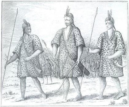 Abiponští bojovníci na mědirytině z třetího dílu jeho knihy