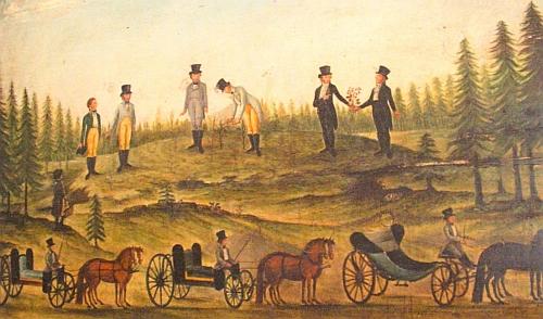 Obraz, znázorňující v podání neznámého venkovského malíře založení arboreta Americká zahrada u Chudenic v roce 1842