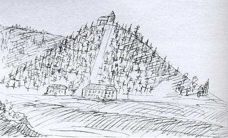 Dětská kresba Eugena Karla Czernina z jeho deníku, signovaná vlevo dole roku 1807 iniciálami EC a výrazně zachycující cestu od zámku Lázeň (Baadhaus) nahoru ke kostelu sv. Wolfganga na vrchu Žďár (Zdiar)