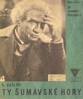 Karel Hašler v roli Dobrovského na obálce písně oŠumavě z filmu Za ranních červánků (1934)