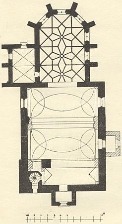 Půdorys hornodvořišťského farního kostela, při jehož levém bočním oltáři stával o Vánocích betlém