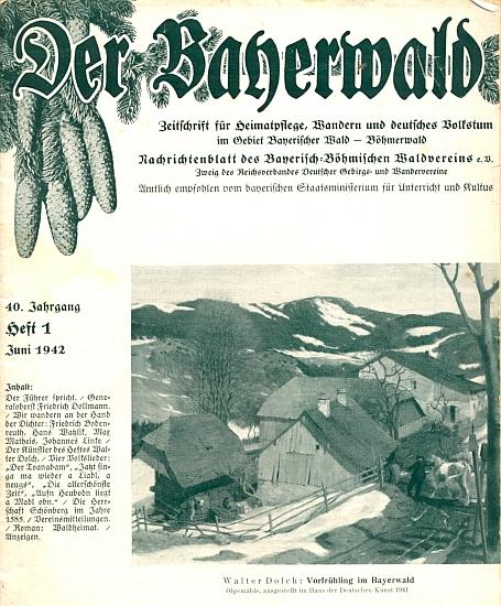 Obálka téhož čísla časopisu Der Bayerwald s reprodukcí jeho olejomalby nazvané Předjaří v Bavorském lese
