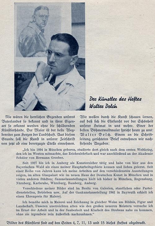 O něm v časopise Der Bayerwald v roce 1942