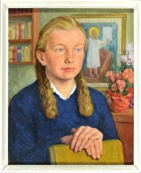 """Obraz """"Půlportrét mladé ženy s knihou vmístnosti"""" je datován rokem 1960 ana jeho pozadí lze spatřit zmrtvýchvstalého Krista"""