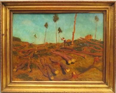 """Olej na kartonu s názvem """"Holzfäller"""" (""""Dřevorubec"""") zroku 1945"""