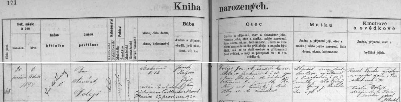 Český záznam o jeho narození ve strakonické křestní matrice