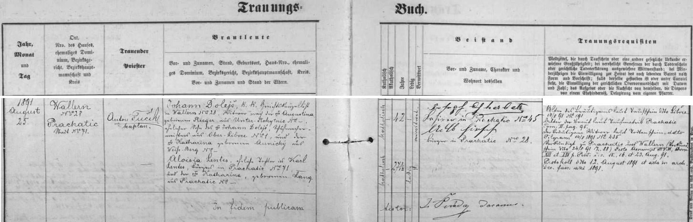 Záznam prachatické oddací matriky o svatbě jeho rodičů