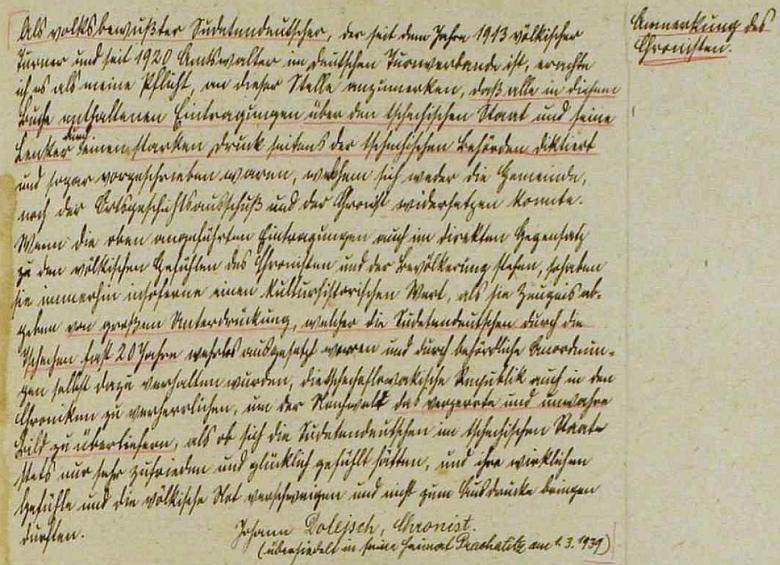"""V roce 1939 se po šesti letech takto rozloučil s rolí kronikáře města Rožmberk nad Vltavou (Rosenberg), odkud odešel """"domů"""" do Prachatic (jako """"národně uvědomělý"""" sudetský Němec se tu omlouvá za to, že """"pod silným nátlakem úřadů"""" psal /dodejme, že v kladném smyslu/ o """"českém státě a jeho vůdčích osobnostech"""" /rozuměj Masarykovi a Benešovi/)"""
