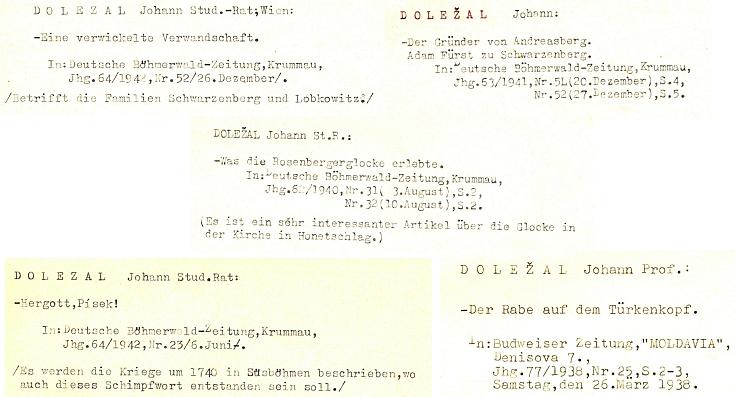 Několik záznamů z bibliografické lístkovnice Ing. Antonína Nikendeye o jiných článcích profesora Doležala se šumavskou tématikou