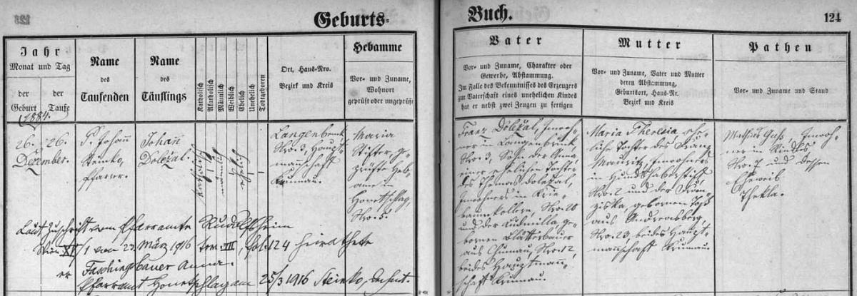 Záznam hodňovské křestní matriky o narození Johanna Doležala v Dlouhém Mostě čp. 3 s přípisem o jeho vídeňské svatbě s Annou Faschingbauerovou v roce 1916