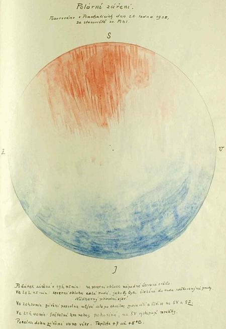 V prachatické městské kronice z let 1922-1941 se uchoval i tento vzácný doklad o polární záři z 25. ledna roku 1938