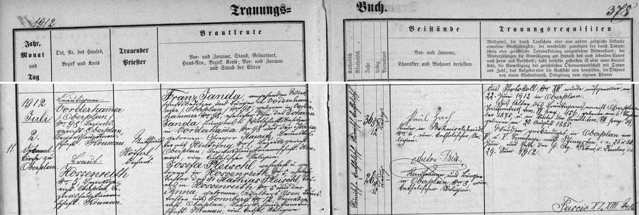 Ze záznamu hornoplánské matriky o svatbě jejích rodičů v červenci roku 1912 se dá vyčíst, že ženich Franz Janda, majitel hospodářství v Předním Hamru čp. 98, kde se i narodil, byl synem Johanna Jandy, hospodáře na témže stavení,  a jeho ženy Marie, dcery Gregora Mauritze ze Záhvozdí (Hintring) čp. 1, nevěsta Josefa pak byla dcerou Mathiase Pleischla z Jenišova (Hossenreith) čp. 5 aAnny, dcery Adalberta Osena ze Slunečné (Sonnberg) čp. 12