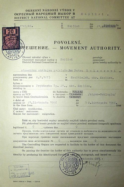 Povolení k cestě do Rakouska, vystavené ONV v Kaplici 21. listopadu roku 1946