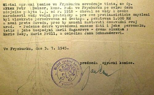 Osvědčení místní správní komise ve Frymburku z července roku 1945