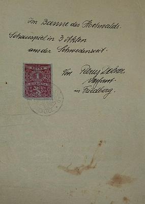 """Titulní list rukopisu jeho hry """"Im Banne des Hochwalds"""", tj. """"V zakletí hvozdu"""""""
