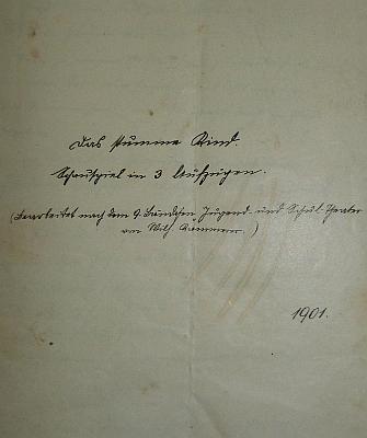 """Titulní list rukopisu jeho hry """"Das stumme Kind"""", tj. """"Němé dítě"""""""