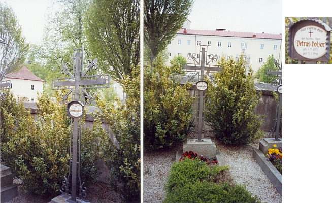 """Dva záběry jeho hrobu """"u Panny Marie na paloučku"""" (""""Maria-Anger"""") při klášteře Schlägl"""