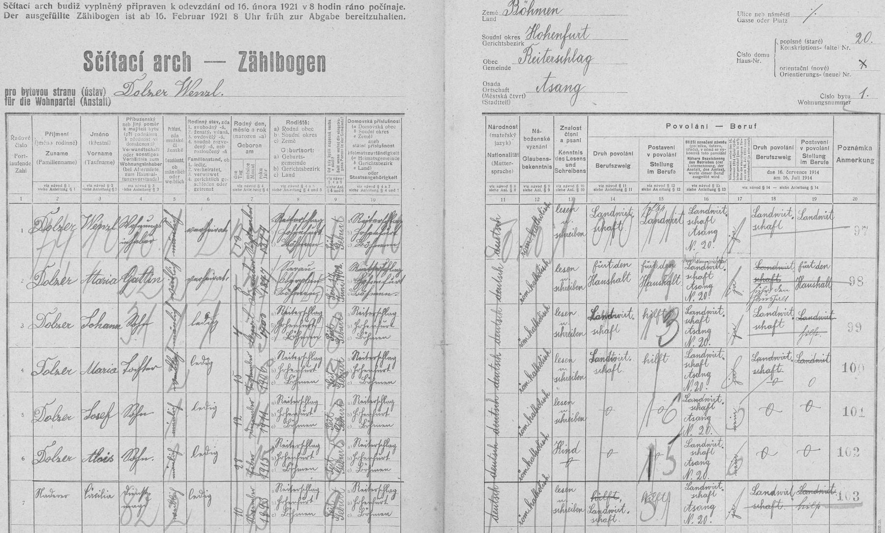 """Arch sčítání lidu z roku 1921 pro dům v Jasánkách čp. 20 (usedlostní jméno """"Peterwenzl-Haus""""), kde se narodil a kde přišel na svět i jeho otec Johann (*7. dubna 1900) jako syn Wenzla Dolzera (*13. září 1874) a Marie, roz. Wimbergerové (*8. prosince 1877) ze zaniklé Kozí Stráně (Geisleiten) čp. 17. Tu křtil v zaniklé Dolní Vltavici (Untermoldau) tamní farář Augustin Wrtílek (1834-1898), rodák z Českých Budějovic"""