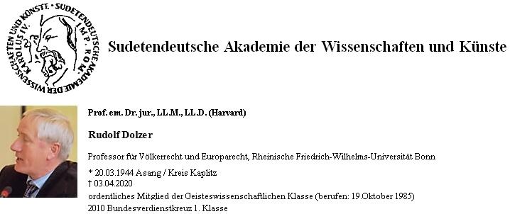Záznam Rudolfa Dolzera na soupisu členů Sudetoněmecké akademie věd a umění