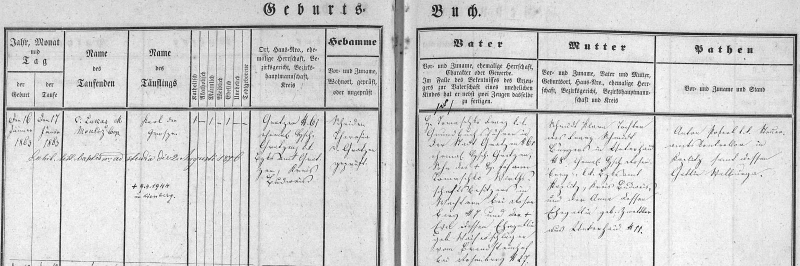 Záznam o jeho narození v křestní matrice Nových Hradů s přípisem o skonu v Loučovicích