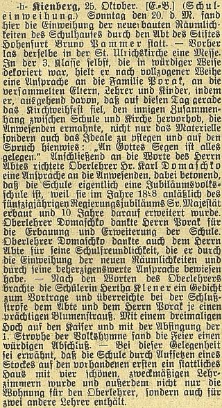 Takto referoval Budweiser Zeitung o slavnostním otevření nové školní budovy vLoučovicích za účasti opata Pammera