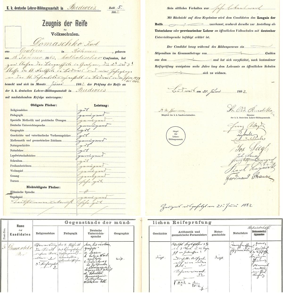 Záznamy o jeho maturitní zkoušce na českobudejovickém německém učitelském ústavu v roce 1882