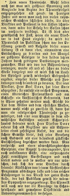 K zahájení nové divadelní sezóny v září roku 1910 na stránkách českobudějovického německého listu