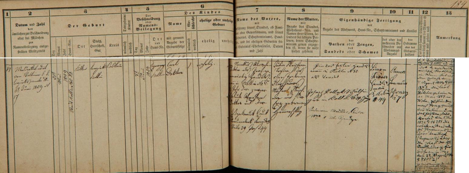 Záznam o jeho narození v kolínské židovské matrice