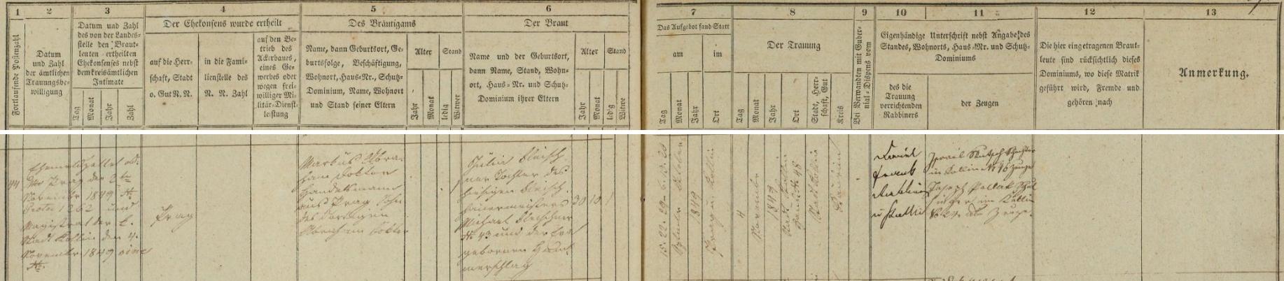 Záznam o svatbě jeho rodičů v kolínské židovské matrice
