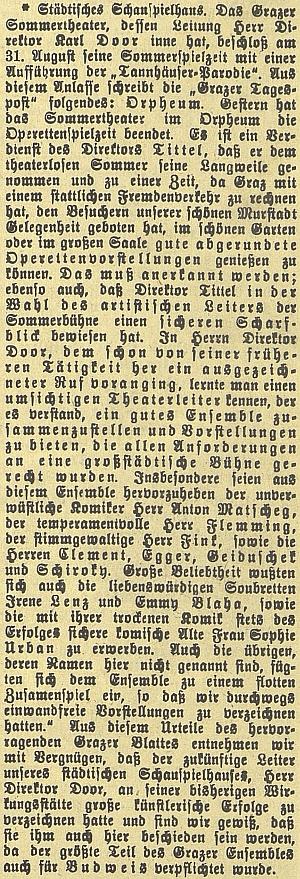 """Chvála jeho uvedení parodie na Wagnerovu operu """"Tannhäuser"""""""
