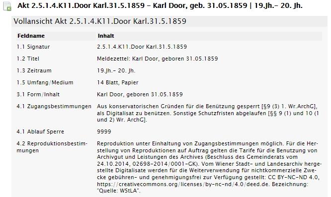 Jeho záznam v databázi Wiener Archivinformationsystem (klikněte na náhled)