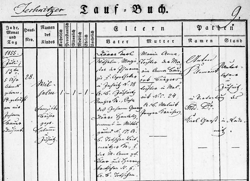 Záznam jesenické křestní matriky o jeho narození