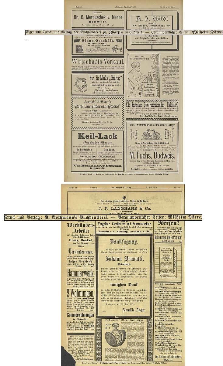 Jako odpovědný redaktor v tiráži dvou českobudějovických německých periodik: Budweiser Kreisblatt, kde končil 26. číslem v březnu 1900,  a Budweiser Zeitung, kde naopak 52. číslem v červenci 1901 začínal