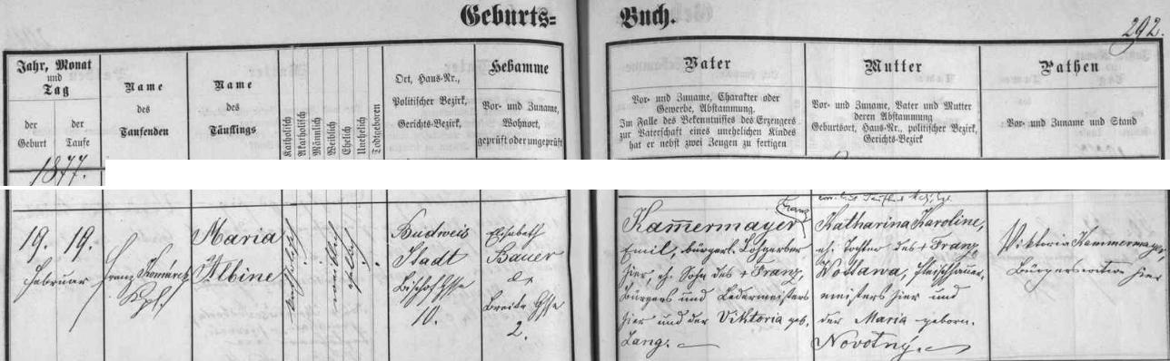 Záznam českobudějovické křestní matriky o narození jeho ženy Marie Albine