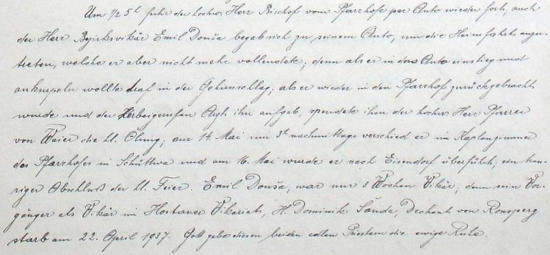 Záznam o jeho skonu ze stránek šitbořské farní kroniky