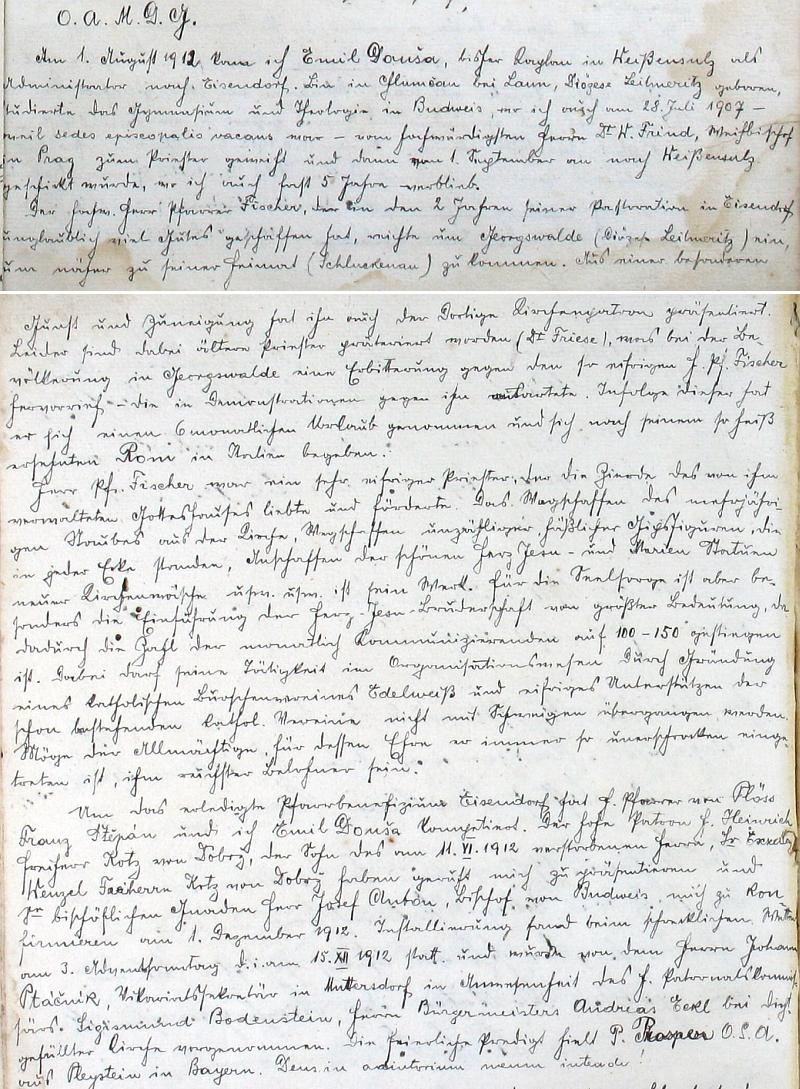 Už první jeho rukou psané řádky ve farní kronice svědčí o výjimečném osobním přístupu