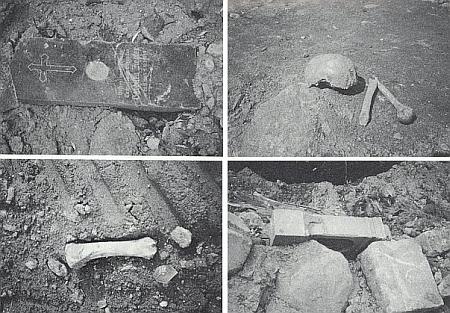 Snímek z roku 1992 zachycuje náhrobky a pozůstatky zemřelých     ze hřbitova v Železné, odkryté při stavbě silnice