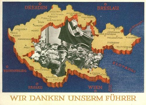 """Ani na příležitostné pohlednici, děkující """"Vůdci"""" za osvobození sudetských krajů, nechybí """"Krumau"""""""