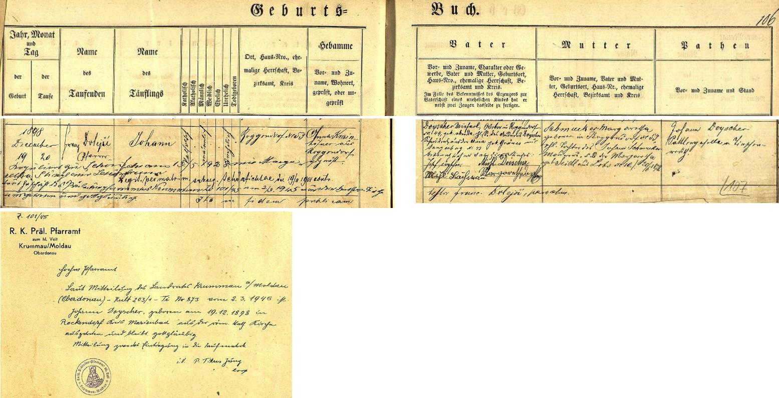 """Záznam křestní matriky zaniklé farní obce Schönficht (byla po druhé světové válce zcela zničena ve vojenském výcvikovém prostoru Prameny pod českým místním jménem Smrkovec, které jí bylo uděleno v roce 1947) o narození jeho otce Johanna Doyschera dne 19. prosince roku 1898 ve dnes rovněž zcela zaniklé vsi Roggendorf (také Ober- aUnter-Rockendorf, zanikla ovšem pod českým jménem Žitná) čp. 53 a jeho křtu den nato, který vykonal v""""schönfichtském"""" farním kostele, zasvěceném zemskému patronovi sv. Václavu (stavba z 15. století na místě kostela ještě staršího byla po druhé světové válce srovnána se zemí), farář Franz Dolejší - novorozencův otec, tkadlec vRoggendorfu čp. 44 Michael Doyscher (podepsaný tu jako Michl Doischer)byl synem krejčího Andrease Doyschera a jeho ženy Anny, roz. Grünesové ze Sangerbergu (dnes Prameny) čp. 43, matka dítěte Margaretha, dívčím jménem Schmuckerová, se narodila v Roggendorfu čp. 53 jako dcera zdejšího zedníka Johanna Schmuckera a jeho ženy Margarethy, roz. Seidlové z Lobzů (německy Lobes či Lobez) čp. 10 - pozdější přípis a originální, razítkem opatřené sdělení krumlovské prelatury (za druhé světové války nesl Český Krumlov německé jméno Krummau an der Moldau) dokládá vystoupení Johanna Doyschera v březnu 1945 (!) z římskokatolické církve s tím, že zůstává """"gottesgläubig"""", tj. """"věřícím v Boha"""""""