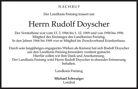 Parte na webových stránkách regionálního vydání listu Münchner Merkur za zemský okres Freising, jehož sněmu byl také členem
