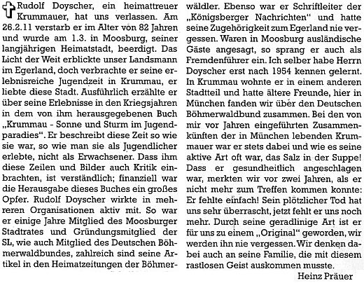 Nekrolog v krajanském časopise napsal Heinz Präuer